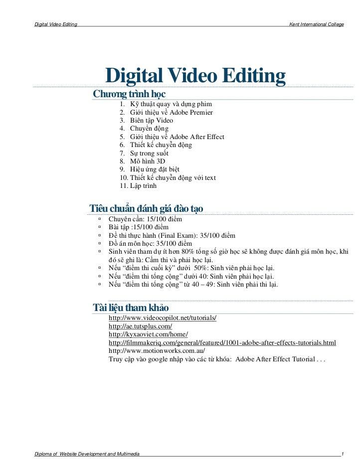 Digital Video Editing                                                                        Kent International College   ...