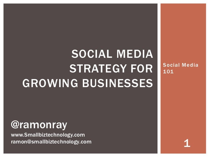 SOCIAL MEDIA         STRATEGY FOR          Social Media                               101   GROWING BUSINESSES@ramonraywww...