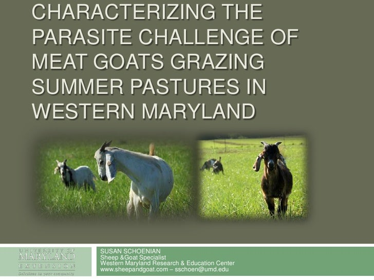 Characterizing the parasite challenge of meat goats grazing summer pastures in Western Maryland<br />SUSAN SCHOENIANSheep ...