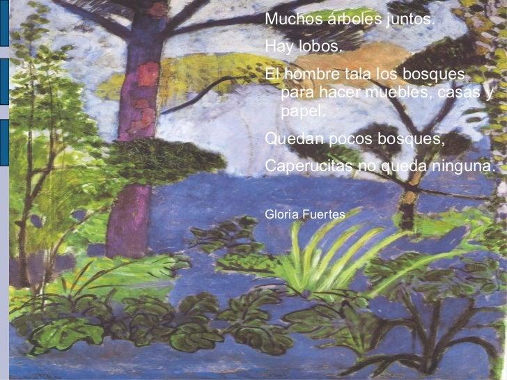 Muchos árboles juntos. Hay lobos. El hombre tala los bosques para hacer muebles, casas y papel.  Quedan pocos bosques,  Ca...