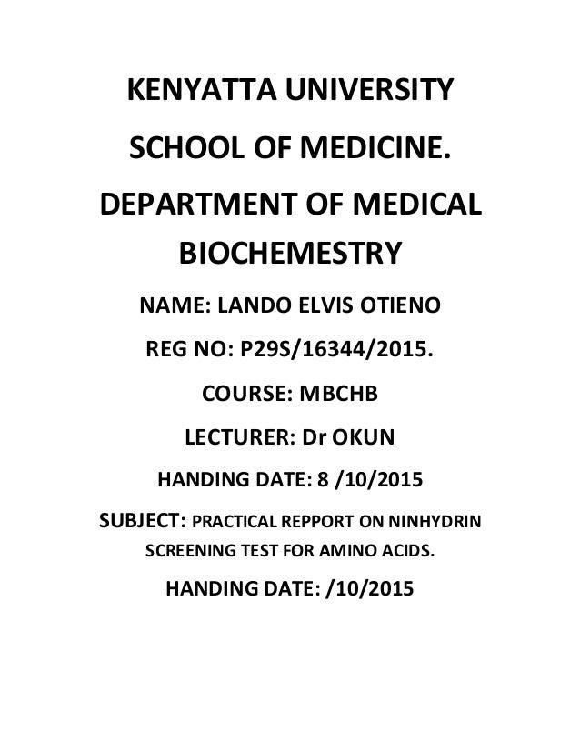 Kenyatta university ninhydrin prac assighnment