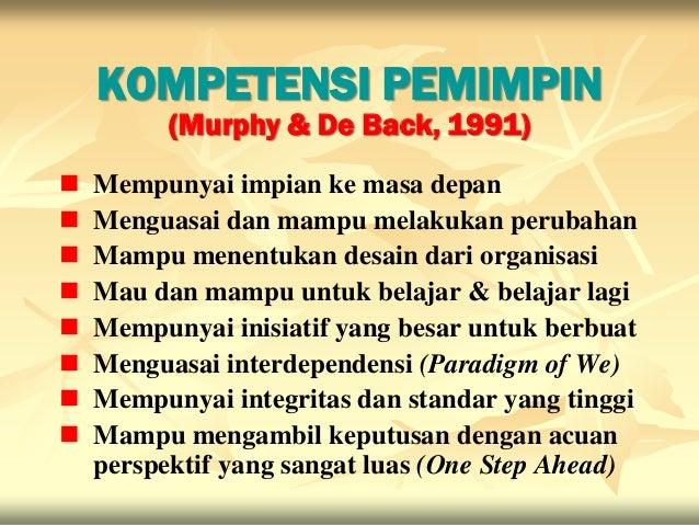 KOMPETENSI PEMIMPIN          (Murphy & De Back, 1991)   Mempunyai impian ke masa depan   Menguasai dan mampu melakukan p...