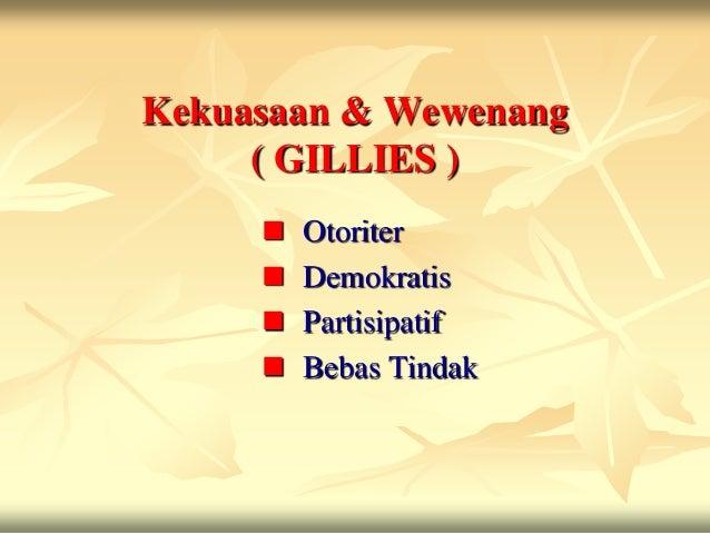 Kekuasaan & Wewenang     ( GILLIES )        Otoriter        Demokratis        Partisipatif        Bebas Tindak
