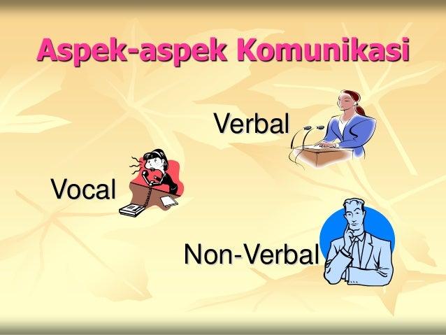 Aspek-aspek Komunikasi          VerbalVocal        Non-Verbal