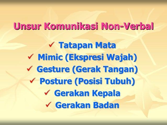 Unsur Komunikasi Non-Verbal       Tatapan Mata   Mimic (Ekspresi Wajah)   Gesture (Gerak Tangan)   Posture (Posisi Tub...