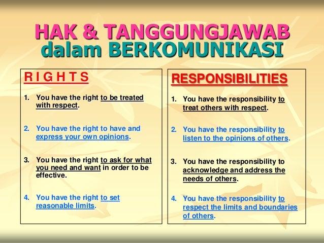 HAK & TANGGUNGJAWAB   dalam BERKOMUNIKASIRIGHTS                                  RESPONSIBILITIES1. You have the right to ...