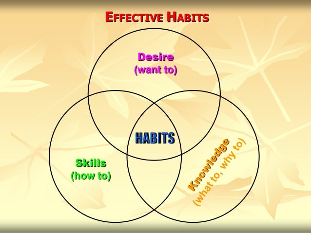 EFFECTIVE HABITS            Desire           (want to)           HABITS Skills(how to)