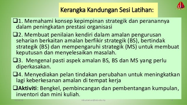 Kepimpinan strategik (strategic Leadership) Slide 3