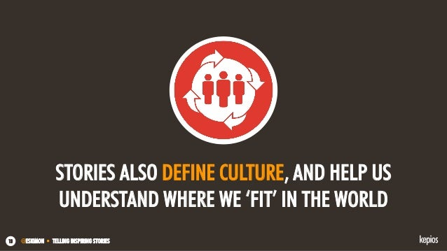 @ESKIMON • TELLING INSPIRING STORIES13 STORIES ALSO DEFINE CULTURE, AND HELP US UNDERSTAND WHERE WE 'FIT' IN THE WORLD