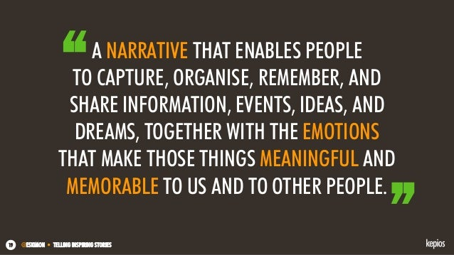 @ESKIMON • TELLING INSPIRING STORIES19 A NARRATIVE THAT ENABLES PEOPLE TO CAPTURE, ORGANISE, REMEMBER, AND SHARE INFORMATI...