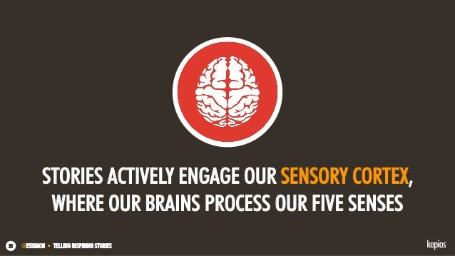 @ESKIMON • TELLING INSPIRING STORIES25 STORIES ACTIVELY ENGAGE OUR SENSORY CORTEX, WHERE OUR BRAINS PROCESS OUR FIVE SENSES