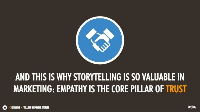 @ESKIMON • TELLING INSPIRING STORIES38 AND THIS IS WHY STORYTELLING IS SO VALUABLE IN MARKETING: EMPATHY IS THE CORE PILLA...