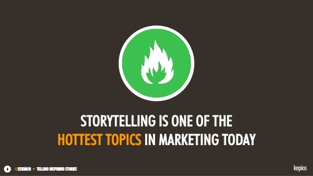 @ESKIMON • TELLING INSPIRING STORIES4 STORYTELLING IS ONE OF THE HOTTEST TOPICS IN MARKETING TODAY