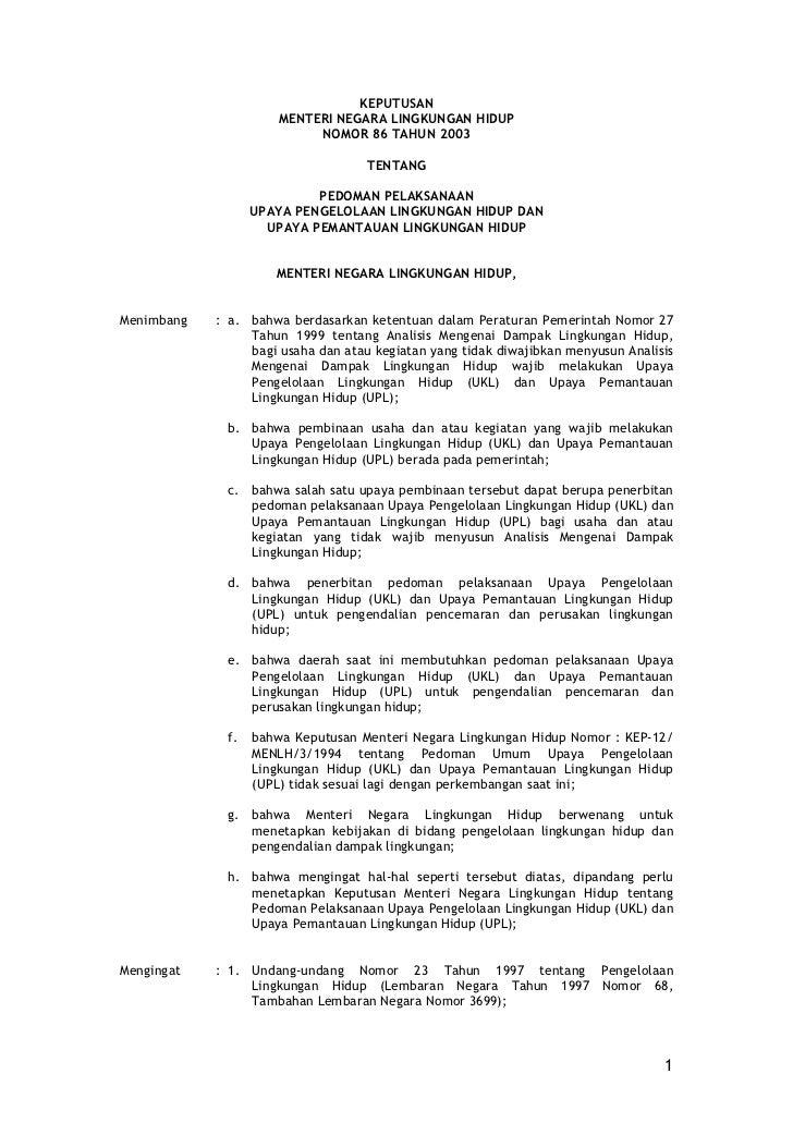 KEPUTUSAN                      MENTERI NEGARA LINGKUNGAN HIDUP                           NOMOR 86 TAHUN 2003              ...