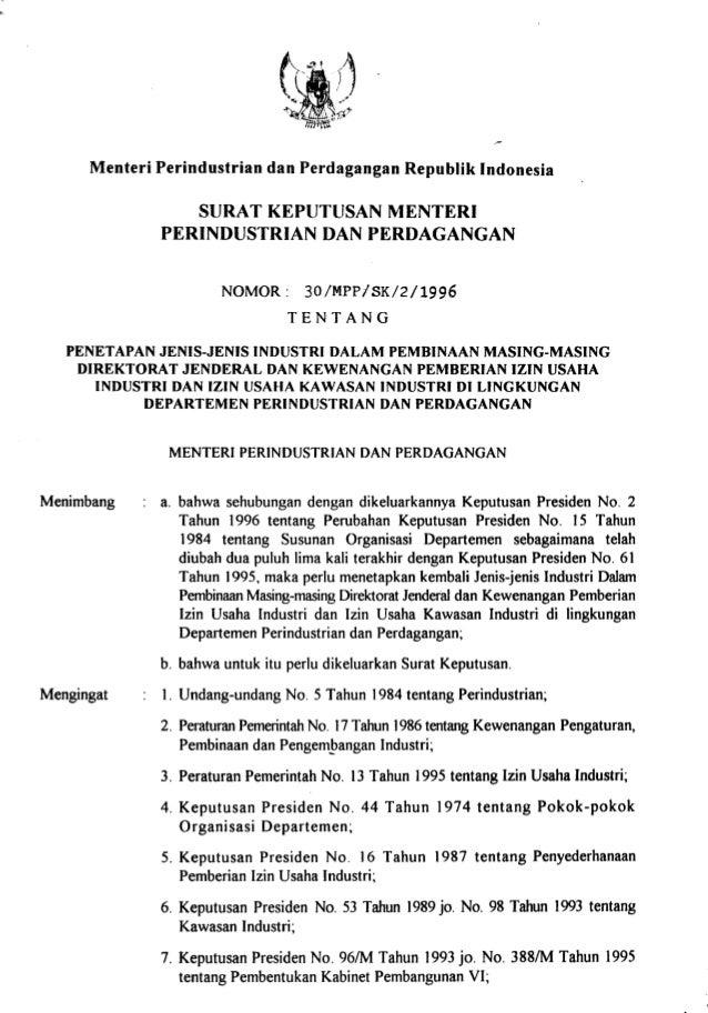 Keputusan Mentr Perindustrian Dan Perdagangan No 30 Tahun 1996
