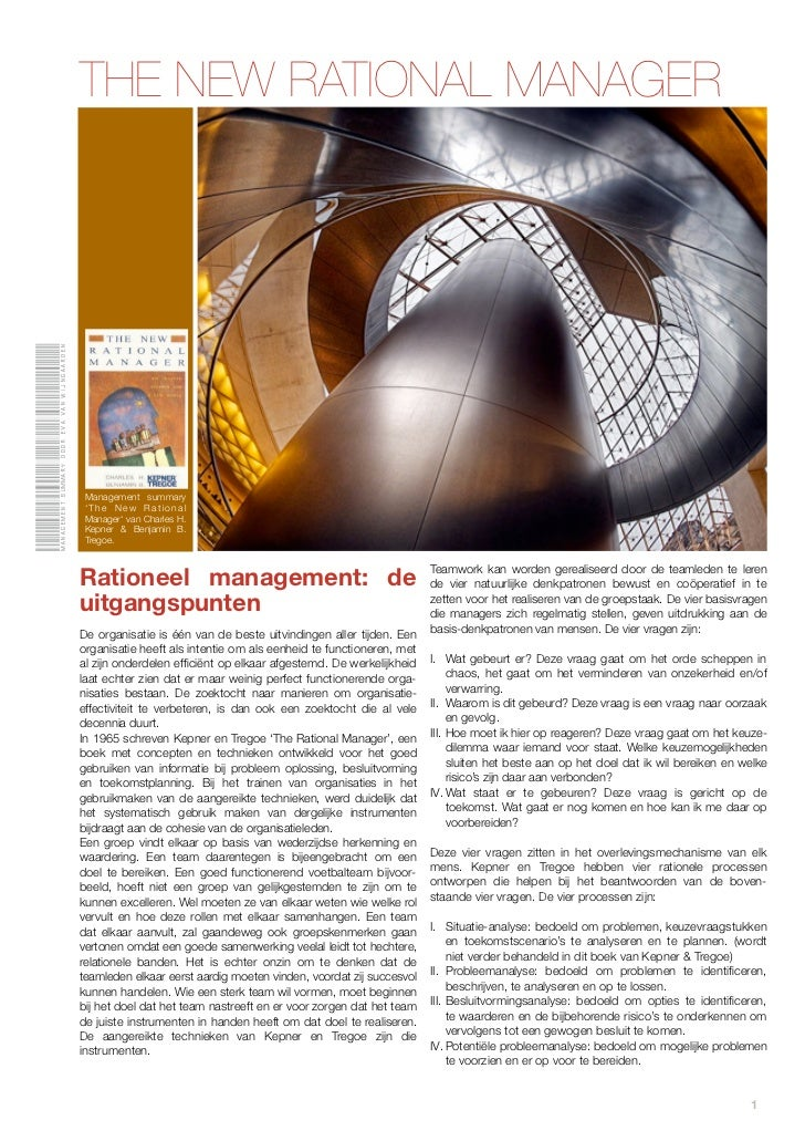 THE NEW RATIONAL MANAGERManagement summary door eva van Wijngaarden                                               Manageme...