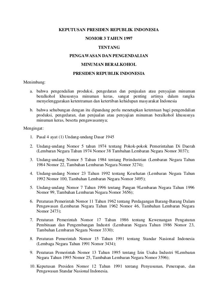 KEPUTUSAN PRESIDEN REPUBLIK INDONESIA                               NOMOR 3 TAHUN 1997                                    ...