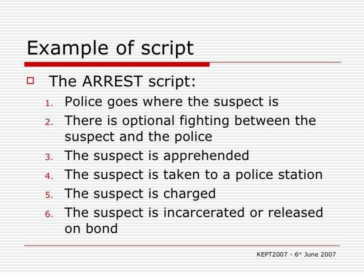 Example of script <ul><li>The ARREST script: </li></ul><ul><ul><li>Police goes where the suspect is </li></ul></ul><ul><ul...