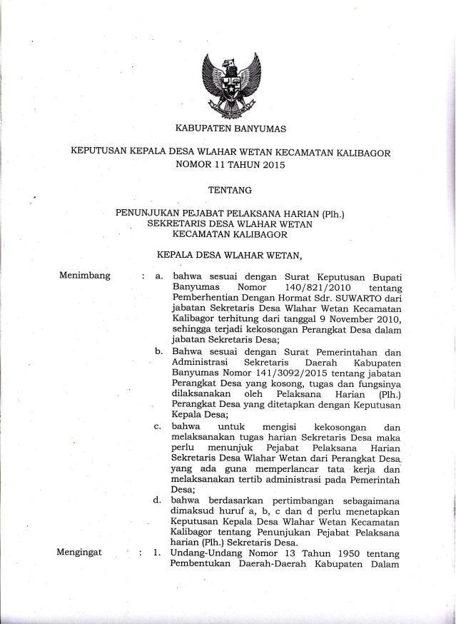 keputusan kepala desa wlahar wetan no 11 tahun 2015
