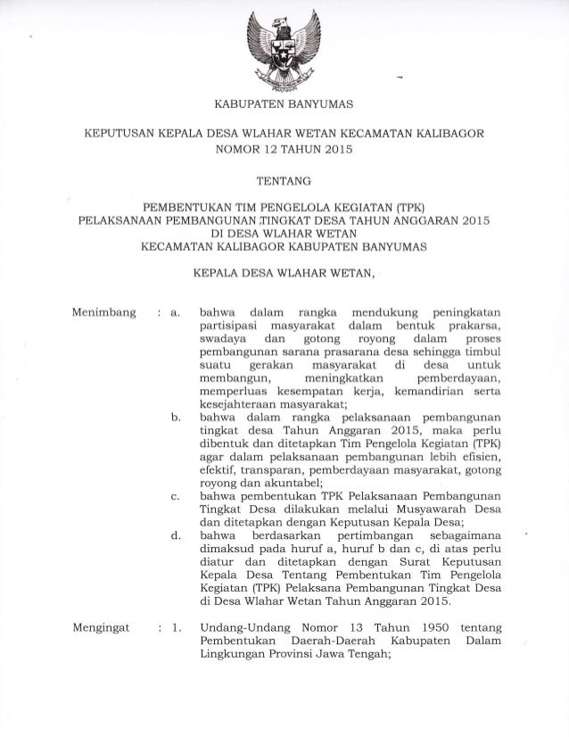 Keputusan Kepala Desa Wlahar Wetan No 12 Tahun 2015 Tentang