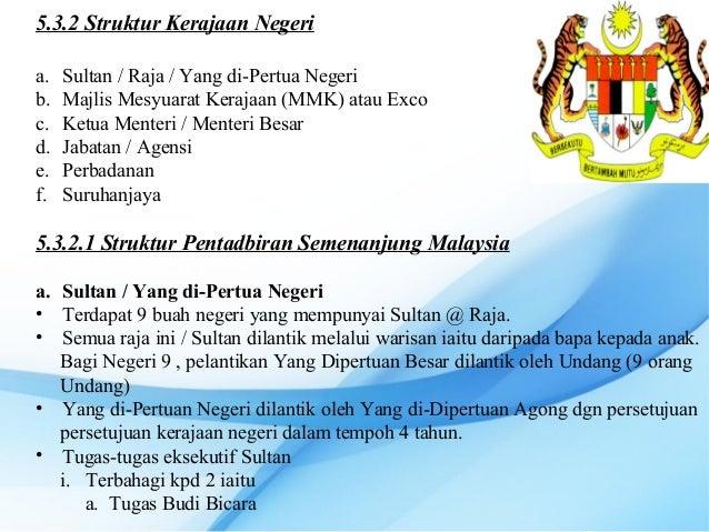 5.3.2 Struktur Kerajaan Negeria.   Sultan / Raja / Yang di-Pertua Negerib.   Majlis Mesyuarat Kerajaan (MMK) atau Excoc.  ...