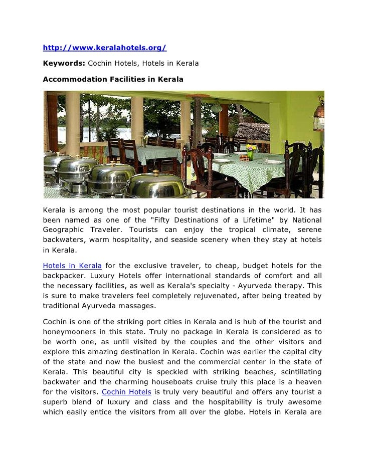 """HYPERLINK """"http://www.keralahotels.org/"""" http://www.keralahotels.org/<br />Keywords: Cochin Hotels, Hotels in Kerala<br /..."""