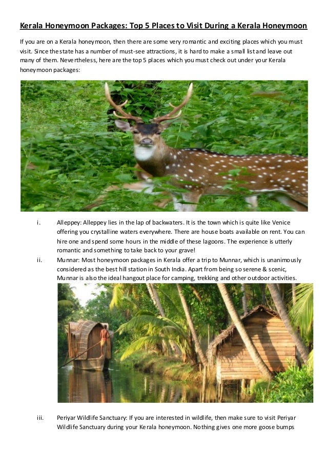Kerala Honeymoon Packages: Top 5 Places to Visit During a Kerala HoneymoonIf you are on a Kerala honeymoon, then there are...