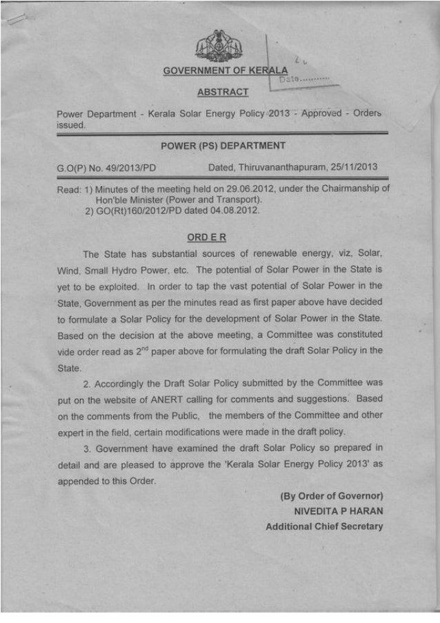 1 KERALA SOLAR ENERGY POLICY 2013