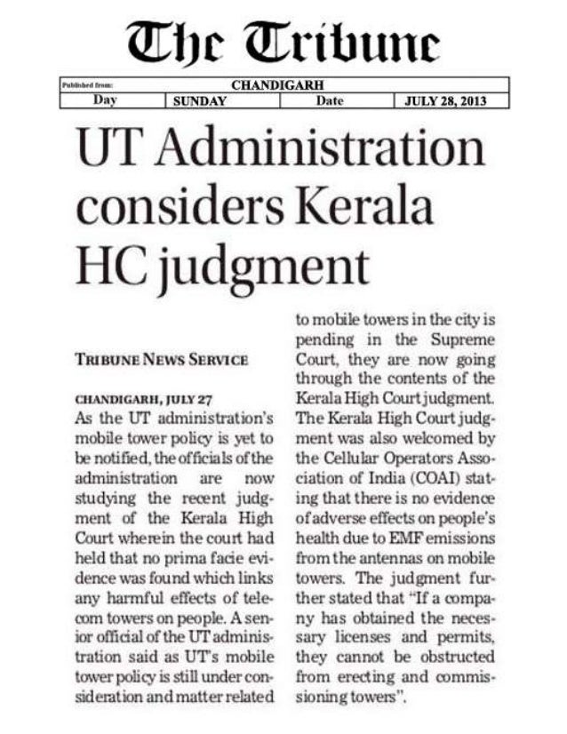 UT administration considers Kerala HC judgement on cell tower radiation