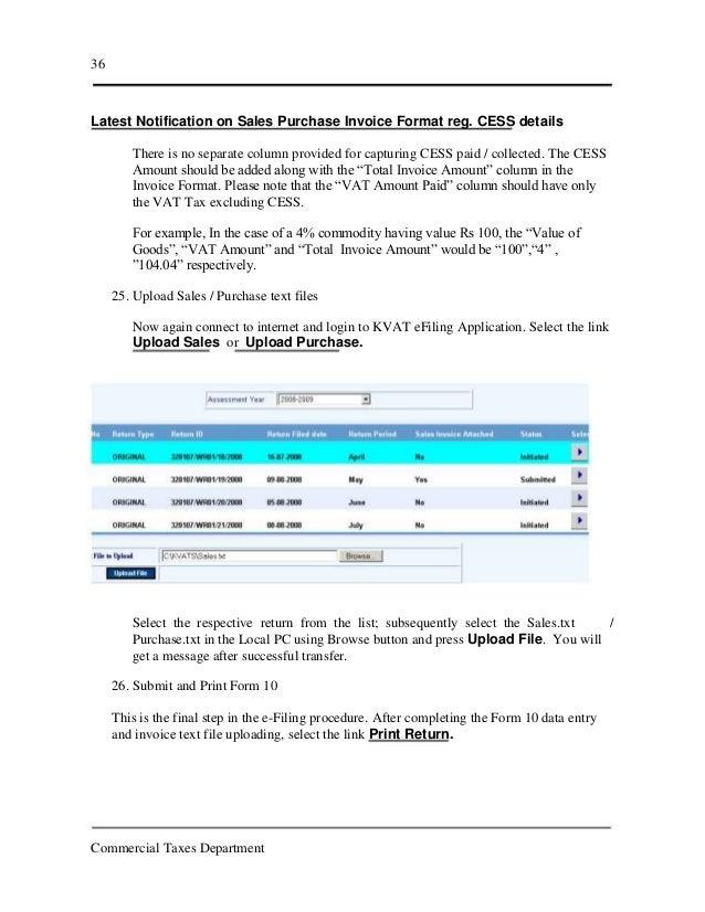 kerala vat efiling, Invoice templates