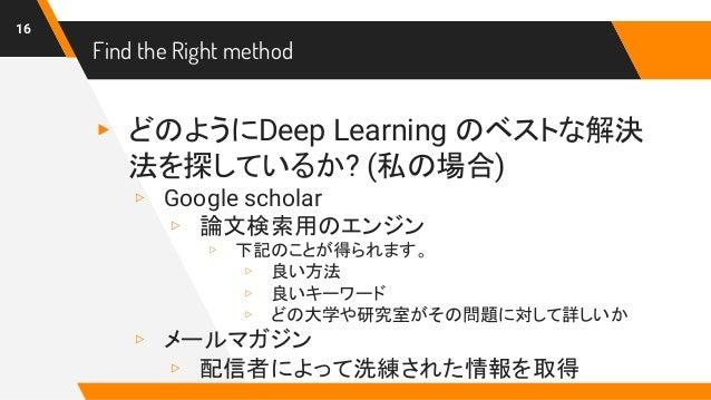 Find the Right method ▸ どのようにDeep Learning のベストな解決 法を探しているか? (私の場合) ▹ Google scholar ▹ 論文検索用のエンジン ▹ 下記のことが得られます。 ▹ 良い方法 ▹ ...