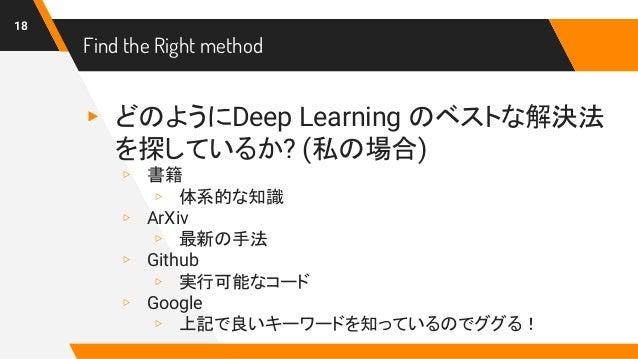Find the Right method ▸ どのようにDeep Learning のベストな解決法 を探しているか? (私の場合) ▹ 書籍 ▹ 体系的な知識 ▹ ArXiv ▹ 最新の手法 ▹ Github ▹ 実行可能なコード ▹ Go...