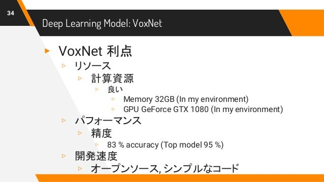Deep Learning Model: VoxNet 34 ▸ VoxNet 利点 ▹ リソース ▹ 計算資源 ▹ 良い ▹ Memory 32GB (In my environment) ▹ GPU GeForce GTX 1080 (In...