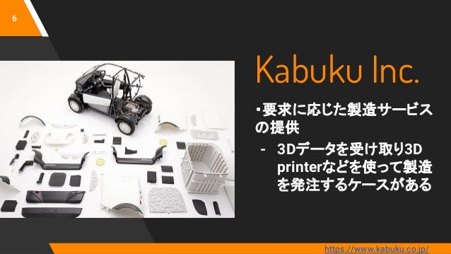 Kabuku Inc. ・要求に応じた製造サービス の提供 - 3Dデータを受け取り3D printerなどを使って製造 を発注するケースがある 6 https://www.kabuku.co.jp/