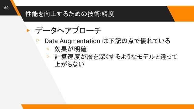 性能を向上するための技術:精度 60 ▸ データへアプローチ ▹ Data Augmentation は下記の点で優れている ▹ 効果が明確 ▹ 計算速度が層を深くするようなモデルと違って 上がらない