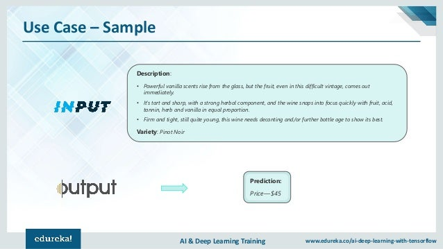 AI & Deep Learning Training www.edureka.co/ai-deep-learning-with-tensorflow Use Case – Sample Description: • Powerful vani...