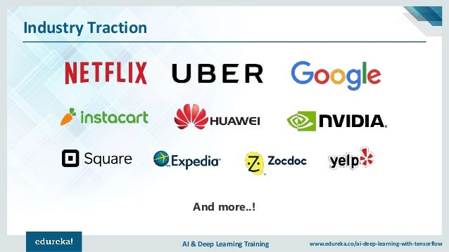 AI & Deep Learning Training www.edureka.co/ai-deep-learning-with-tensorflow Industry Traction And more..!