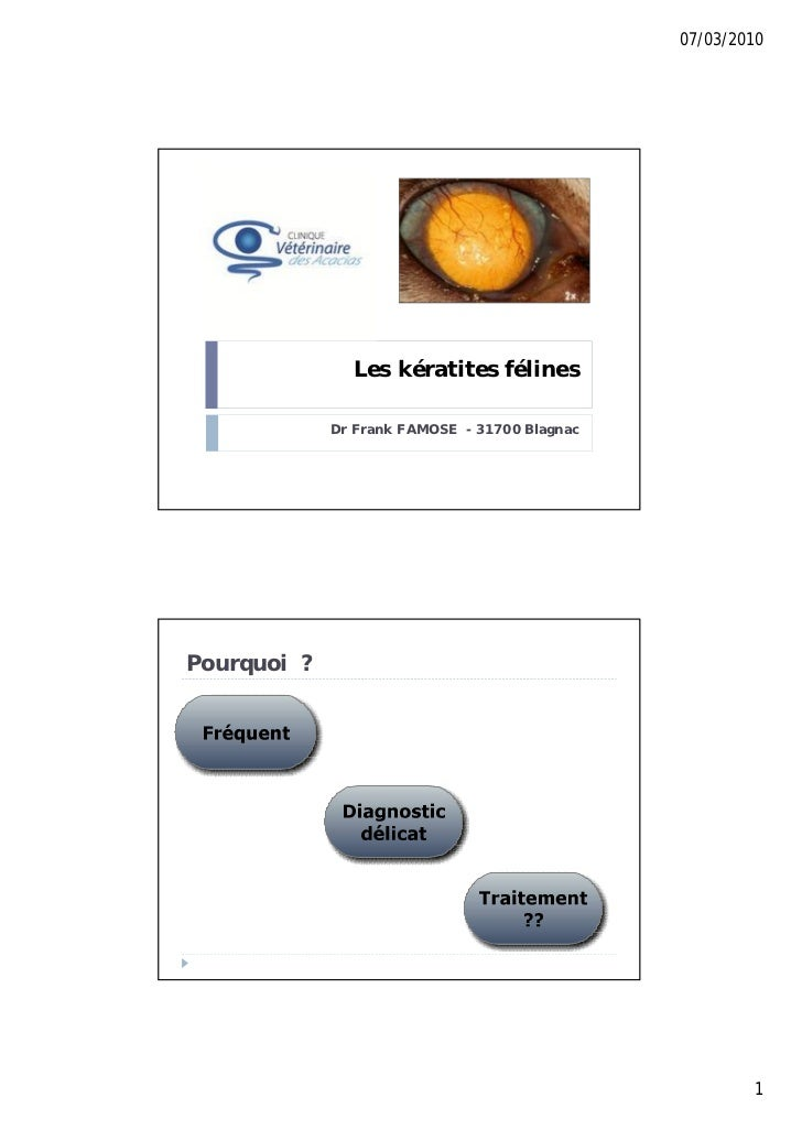 07/03/2010               Les kératites félines             Dr Frank FAMOSE - 31700 BlagnacPourquoi ?                      ...