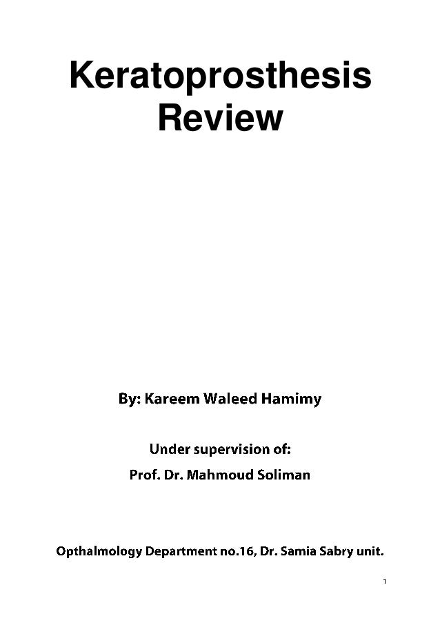 Keratoprosthesis    Review