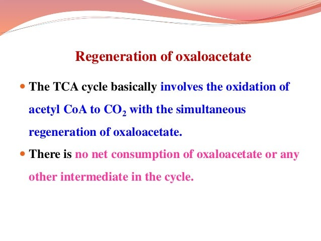 Regeneration of oxaloacetate  The TCA cycle basically involves the oxidation of acetyl CoA to CO2 with the simultaneous r...