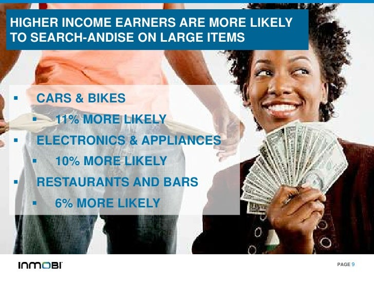 HIGHER INCOME EARNERS ARE MORE LIKELYTO SEARCH-ANDISE ON LARGE ITEMS   CARS & BIKES       11% MORE LIKELY   ELECTRONICS...