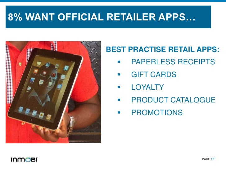8% WANT OFFICIAL RETAILER APPS…                BEST PRACTISE RETAIL APPS:                     PAPERLESS RECEIPTS         ...