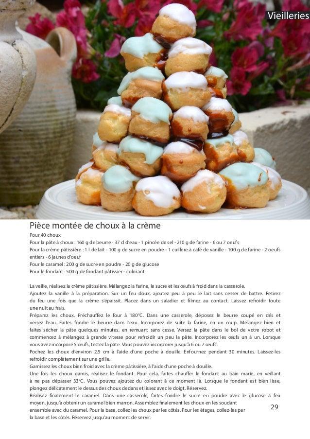 29 Pièce montée de choux à la crème Pour 40 choux Pour la pâte à choux : 160 g de beurre - 37 cl d'eau - 1 pincée de sel -...