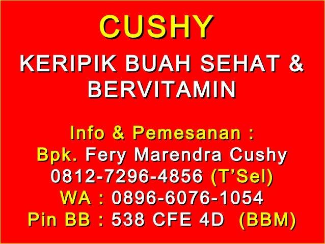 CUSHYCUSHY KERIPIK BUAH SEHAT &KERIPIK BUAH SEHAT & BERVITAMINBERVITAMIN Info & Pemesanan :Info & Pemesanan : Bpk.Bpk. Fer...