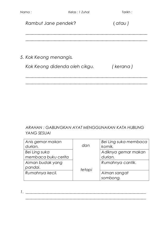 Kata Hubung Bahasa Melayu Tahun 1