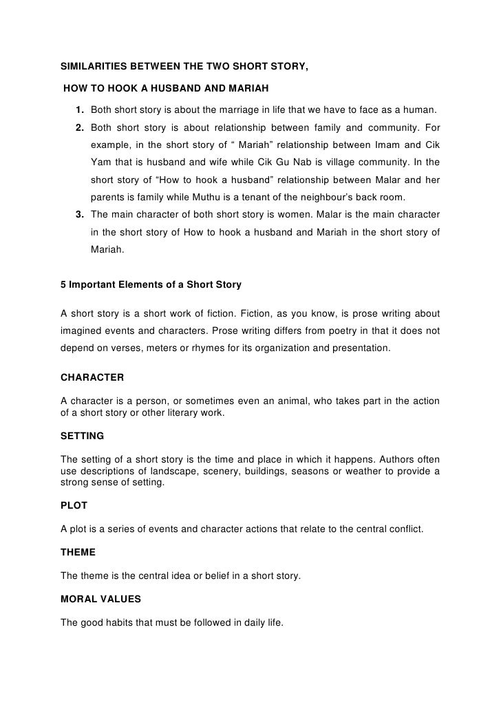 example of short story with 5 elements