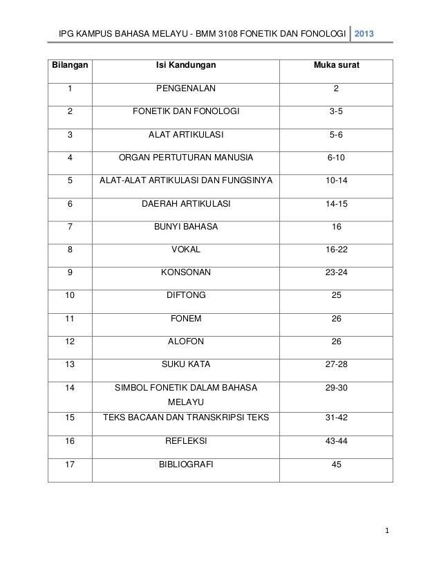 IPG KAMPUS BAHASA MELAYU - BMM 3108 FONETIK DAN FONOLOGI 2013  Bilangan  Isi Kandungan  Muka surat  1  PENGENALAN  2  2  F...