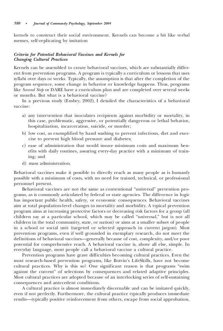 Community based prevention programs essay