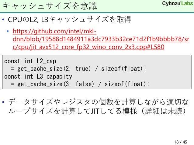 • CPUのL2, L3キャッシュサイズを取得 • https://github.com/intel/mkl- dnn/blob/19588d1484911a3dc7933b32ce71d2f1b9bbbb78/sr c/cpu/jit_avx...