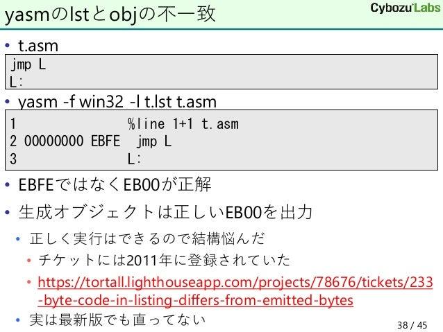 • t.asm • yasm -f win32 -l t.lst t.asm • EBFEではなくEB00が正解 • 生成オブジェクトは正しいEB00を出力 • 正しく実行はできるので結構悩んだ • チケットには2011年に登録されていた • ...
